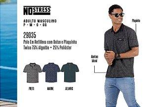 Camisa Polo em Retilínea Masculina No Stress c/ Bolso e Plaquinha