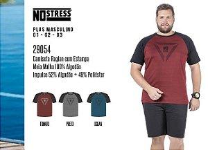 Camiseta Raglan Masculina No Stress Plus c/ Estampa