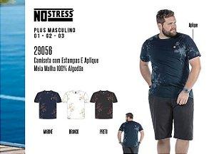Camiseta Masculina No Stress Plus c/ Estampas e Aplique