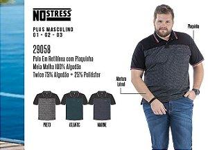 Camisa Polo em Retilínea Masculina No Stress Plus c/ Plaquinha
