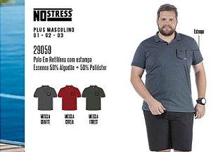 Camisa Polo em Retilínea Masculina No Stress Plus c/ Estampa