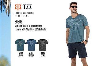 """Camiseta Masculina TZE c/ Decote """"V"""" e Estampa"""