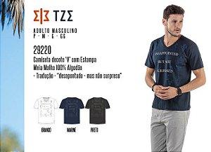 Camiseta Masculina TZE c/ Decote 'V' e Estampa