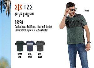 Camiseta Masculina TZE c/ Retilíneas, Estampa e Bordado