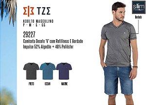Camiseta Masculina TZE c/ Decote 'V', Retilíneas e Bordado