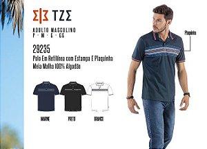 Camisa Polo em Retilínea Masculina TZE c/ Estampa e Plaquinha