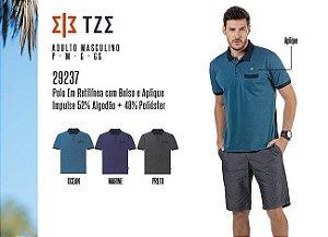 Camisa Polo em Retilínea Masculina TZE c/ Bolsos e Aplique