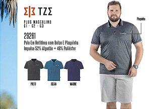 Camisa Polo em Retilínea Masculina TZE Plus c/ Bolso e Plaquinha