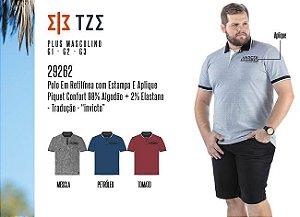 Camisa Polo em Retilínea Masculina TZE Plus c/ Estampa e Aplique