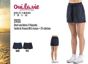 Short Feminino Oui.la.vie c/ Bolsos e Plaquinha
