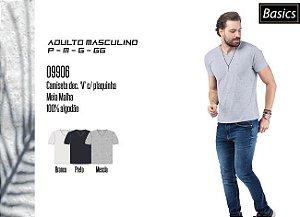 Camiseta Masculina Basic dec. 'V' c/ plaquinha