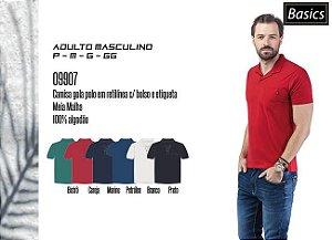 Camisa Masculina Basic gola polo em retilínea c/ bolso e etiqueta