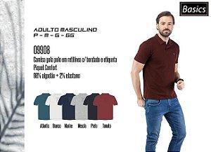 Camisa Masculina Basic gola polo em retilínea c/ bordado e etiqueta