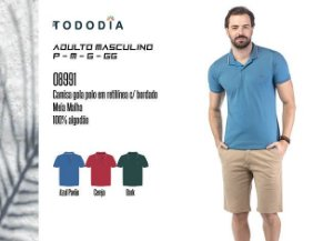 Camisa Masculina Tododia Gola Pola em Retilínea c/ Bordado