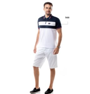 Camisa Polo Recortes e Zíper TZE