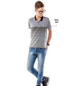 Camisa Polo Estampa Listras Menino TZE