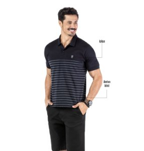 Camisa Polo Estampa Listras No Stress