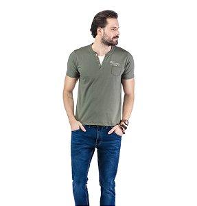 Camiseta Decote Henley Sobreposição TZE
