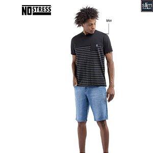 Camiseta Slim Listras e Bolso No Stress