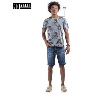 Camiseta com Estampa Floral No Stress