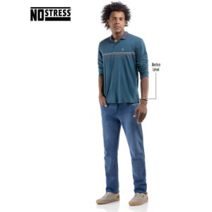 Camisa Polo Manga Longa com Estampa No Stress