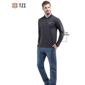 Camisa Polo Manga Longa com Ziper TZE