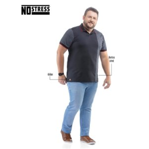 Camisa Polo com Recorte e Listras No Stress Plus