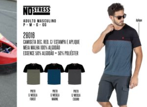 Camiseta Dec Red. Masculina No Stress c/ Estampa e Aplique