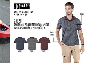 Camisa Gola Polo em Retilínea Masculina No Stress c/ Aplique