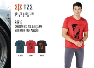 Camiseta Dec. Red. Masculina TZE c/ Estampa