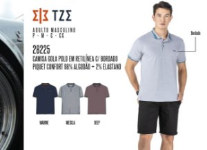 Camisa Gola Polo em Retilínea Masculina TZE c/ Bordado
