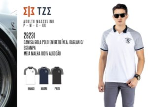 Camisa Gola Polo em Retilínea Raglan Masculina TZE c/ Estampa