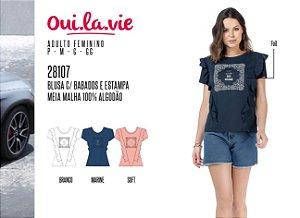 Blusa Feminina Oui.la.vie c/ Bordados e Estampa