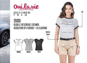 Blusa Feminina Oui.la.vie c/ Retilíneas e Estampa