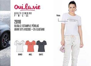 Blusa Feminina Oui.la.vie c/ Estampa e Pérolas