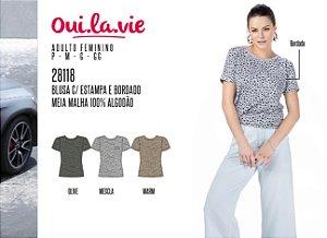 Blusa Feminina Oui.la.vie c/ Estampa e Bordado