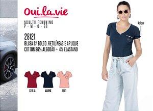 Blusa Feminina Oui.la.vie c/ Bolso, Retilíneas e Aplique