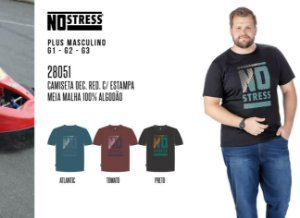 Camiseta Dec. Red. No Stress Plus c/ Estampas