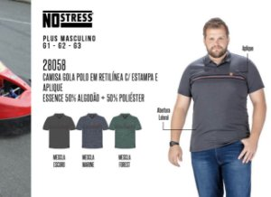 Camisa Gola Polo em Retilínea No Stress Plus c/ Estampas e Aplique