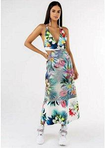 Vestido midi de tela estampado floral