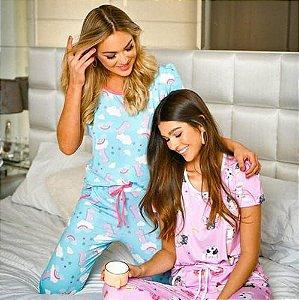 Pijama Dino azul / Dog rosa