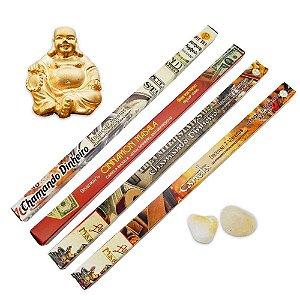 Combo Incensos Chamando Dinheiro com Buda e Pedras Citrino