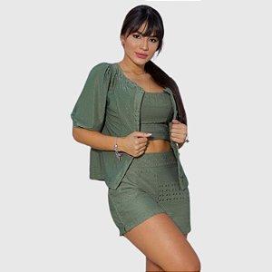 Conjunto Feminino Cropped/Short Tropical Fashion REF.:8348A
