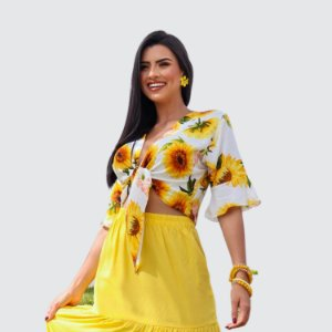 Blusa Feminina com Amarração Milnebay estampada REF.:9780