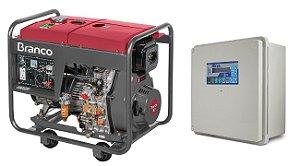 Grupo Gerador a Diesel 8KVA 220V Part. Elétrica Trifásico BD8000 Marca Branco + QTA 32A