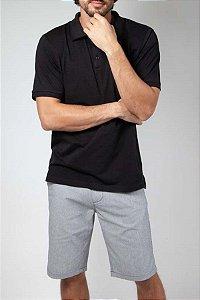 Camisa Polo com Elastano Preta