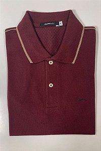 Camisa Polo Vinho   Detalhe na Manga e na Gola