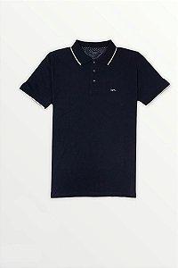 Camisa Polo Azul Marinho | Detalhe Na Gola
