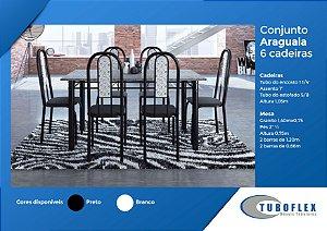 CONJUNTO MESA DE JANTAR 6 CADEIRAS ARAGUAIA TAMPO GRANITO 1,40X75 - TUBOFLEX