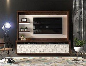 ESTANTE HOME CAVALLI COM LED 3D CINAMOMO CASTANHO / OFF WHITE - DJ MÓVEIS